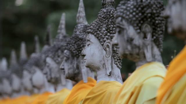 CU View of  meditating buddha statues / Ayutthaya, Thailand