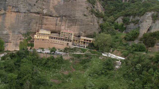 WS AERIAL View of Mega spileo monastery / Kalavrita, Kalavryta, Peloponissos, Greece