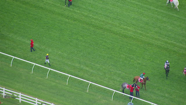 ws aerial zo view of melbourne cup horse racing / melbourne, victoria, australia - racehorse stock videos and b-roll footage