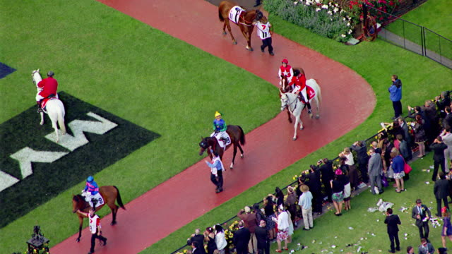 MS AERIAL View of Melbourne cup horse racing / Melbourne, Victoria, Australia