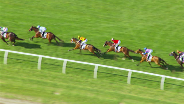 ms aerial slo mo ts view of melbourne cup horse racing / melbourne, victoria, australia - horse racing stock videos & royalty-free footage