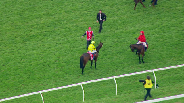 ms aerial ts view of melbourne cup horse racing / melbourne, victoria, australia - racehorse stock videos and b-roll footage