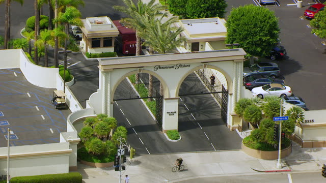 WS AERIAL POV View of Melrose Gate at Paramount studio / Los Angeles, California, United States