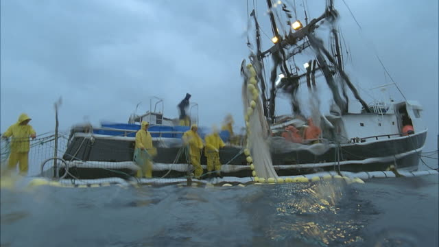 slo mo ws view of men working on fishing boat / moorea, tahiti, french polynesia - netting stock videos and b-roll footage