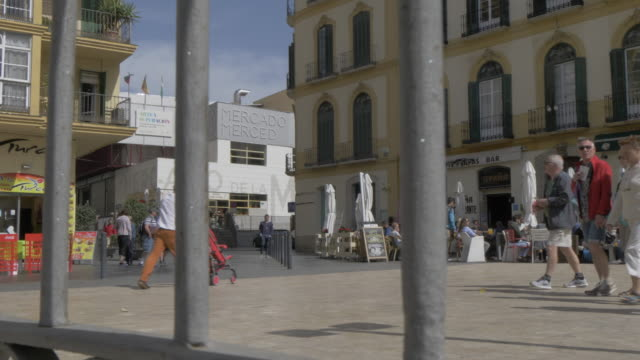 view of mercado market and plaza de la merced, malaga, andalucia, spain, europe - pavement cafe stock videos and b-roll footage