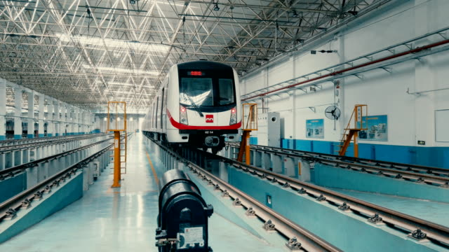 view of metro maintenance and factory inside,xi'an,china. - train vehicle video stock e b–roll