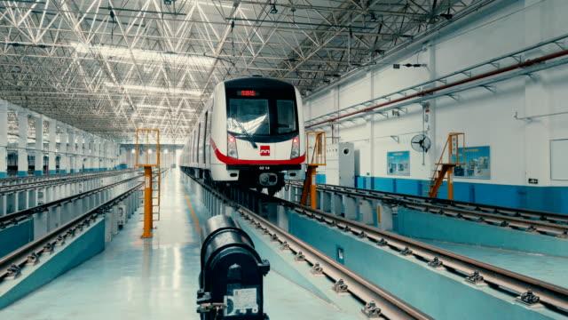 view of metro maintenance and factory inside,xi'an,china. - train vehicle点の映像素材/bロール