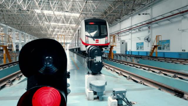 view of metro maintenance and factory inside,xi'an,china. - verkehrsschild stock-videos und b-roll-filmmaterial