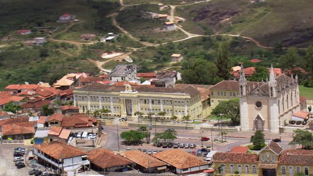 ws aerial view of metropolitan cathedral / minas gerais, brazil - minas stock videos and b-roll footage