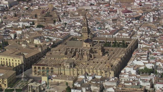 ws pov aerial view of mezquita de cordoba cathedral cordoba