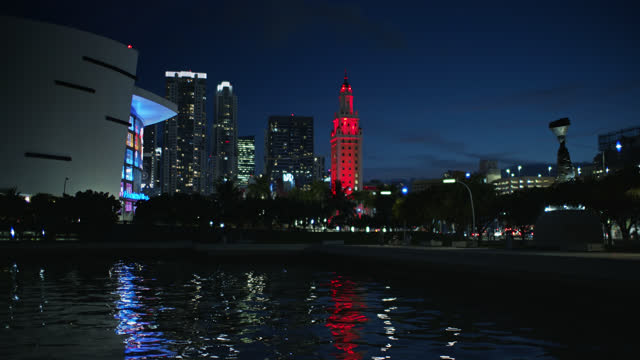 view of miami skyline from beside the american airlines arena - miami dade county stock videos & royalty-free footage