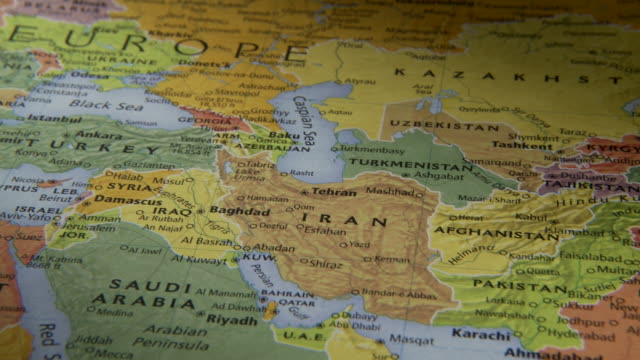 stockvideo's en b-roll-footage met cu pan view of middle east and asia in world map / atlanta, georgia, usa - kaart
