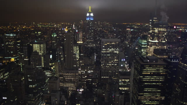WS View of midtown Manhattan at night / New York City, New York, USA