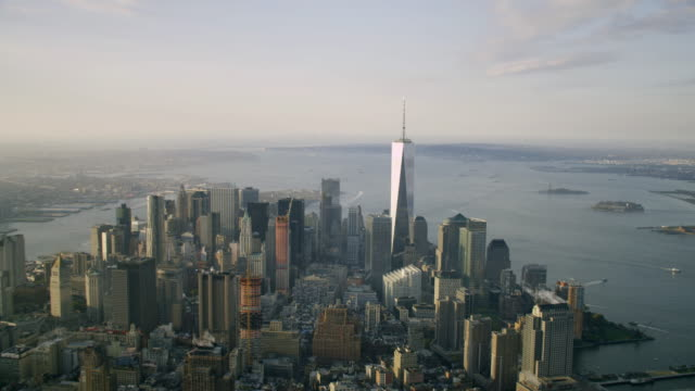 'HA WS AERIAL View of Midtown with Freedom Tower / New York City, United States'