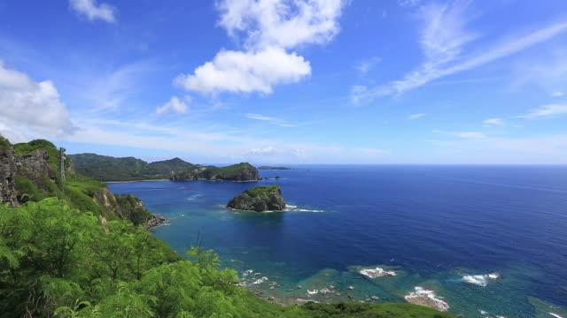 ws pan view of mikazukiyama observation deck of chichi jima island, unesco world natural heritage ogasawara islands / ogasawara islands, tokyo, japan - wetterstation stock-videos und b-roll-filmmaterial