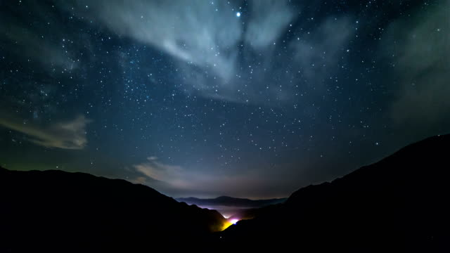 view of milky way and cloud sea at mt. seoraksan (national park) at night - sky stock videos & royalty-free footage
