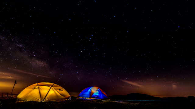 View of milky way and illuminating tents