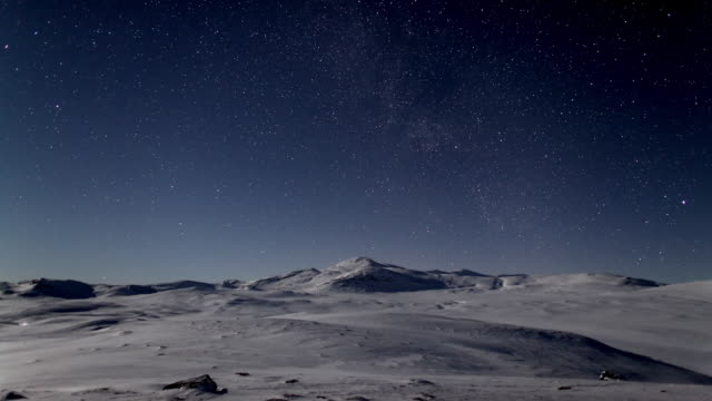 WS PAN T/L View of milky way and mountain landscape during winter / Engerdal, Norway