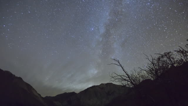 WS ZO PAN T/L View of  milky way and night sky above convict Lake in  Eastern sierra nevada moutains / Manmoth Lakes, CA, United States