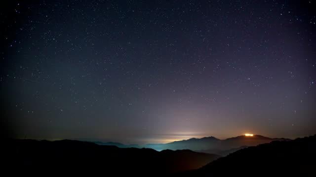 view of milky way on star field over gwangdeoksan mountain (famous place for observation) - mindre än 10 sekunder bildbanksvideor och videomaterial från bakom kulisserna