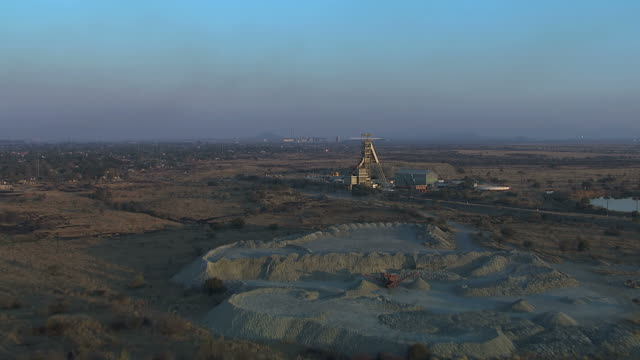 ws aerial view of mine and surrounding landscape / rustenburg, north west province, south africa - industrial district stock videos & royalty-free footage