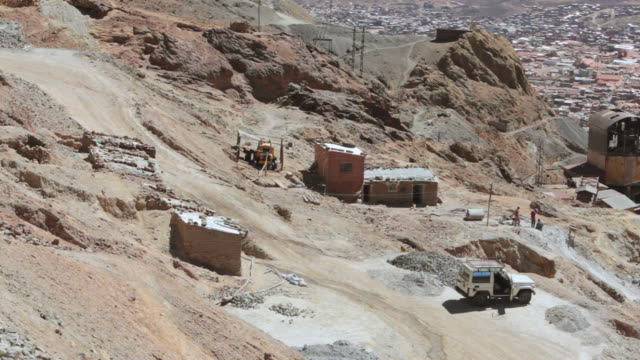 view of miners working at potosi mountains / potosi, bolivia - bolivian andes stock videos & royalty-free footage