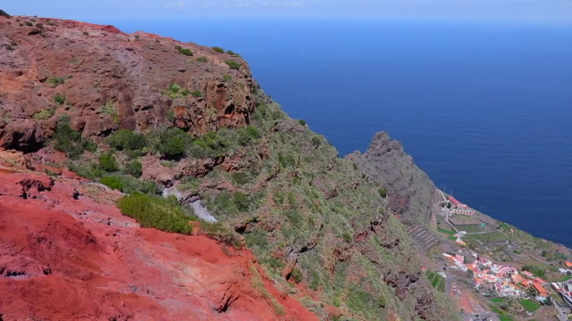 View of Mirador de Abrante and village Agulo on Canary Islands La Gomera in the province of Santa Cruz de Tenerife - Spain
