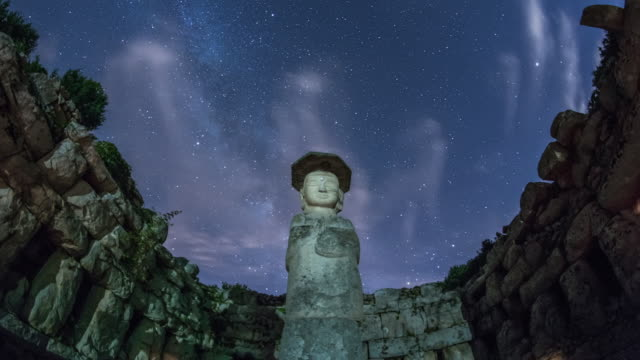 View of Mireungni Standing Stone Buddha(Korea Treasure 96) and milky way in star field