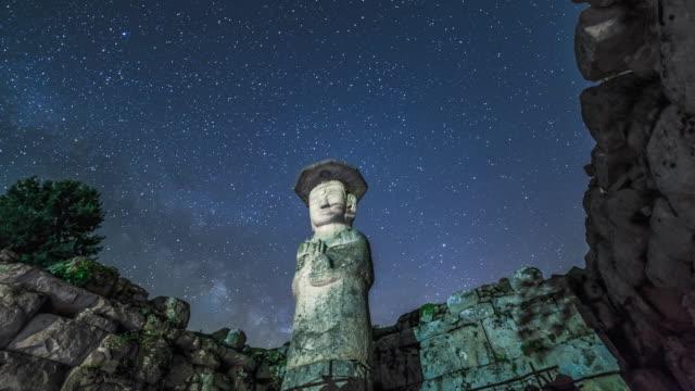 View of Mireungni stone Buddha figurine (Korean Treasure 96) and milky way in star field