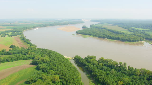 WS AERIAL POV View of Mississippi River with forest area / Illinois, United States