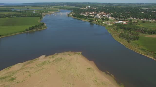 WS AERIAL TU View of Missouri River to town / Yankton, South Dakota, United States