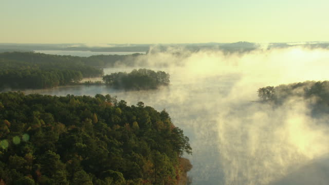 stockvideo's en b-roll-footage met ws aerial view of mist in air over lake martin in elmore county and flyover trees and lake during sunrise / alabama, united states - alabama