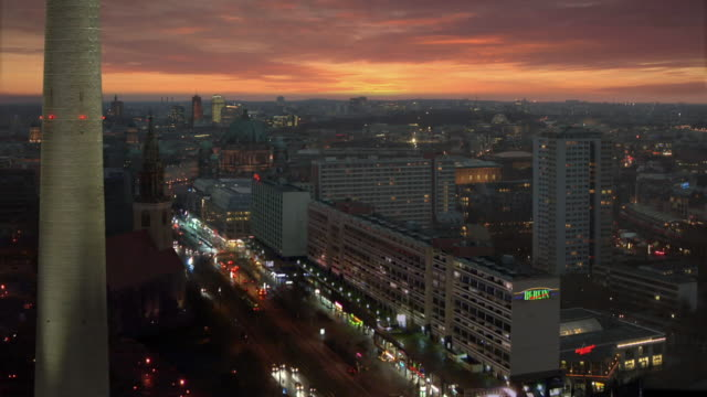 ws, ha, view of mitte district at dusk, berlin, germany - establishing shot stock-videos und b-roll-filmmaterial