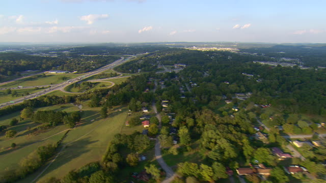 ws aerial view of mixed suburban and highway, rural development in north suburbs / chattanooga, tennessee, united states  - tennessee stock videos & royalty-free footage
