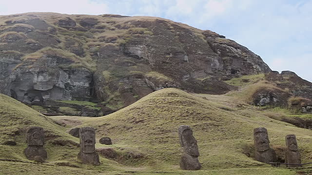 WS View of Moai statue near mountain / Rapa Nui National Park, Easter Island, Chile