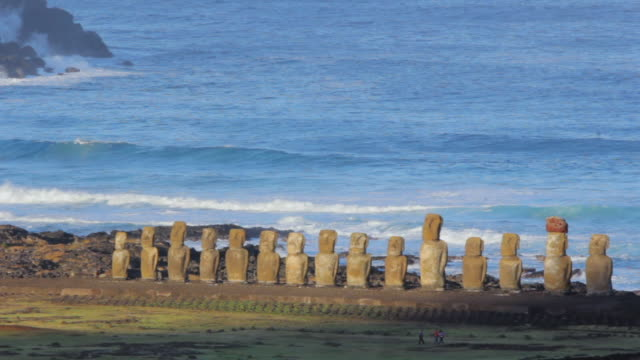 WS View of Moai statue near ocean / Rapa Nui National Park, Easter Island, Chile