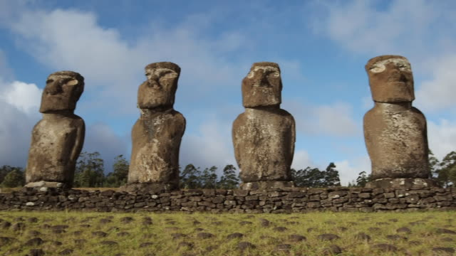 ws pan view of moai statue / rapa nui national park, easter island, chile  - maui stock videos & royalty-free footage