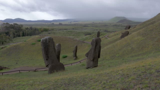 View of Moais statues and Easter Island landscape in the distance