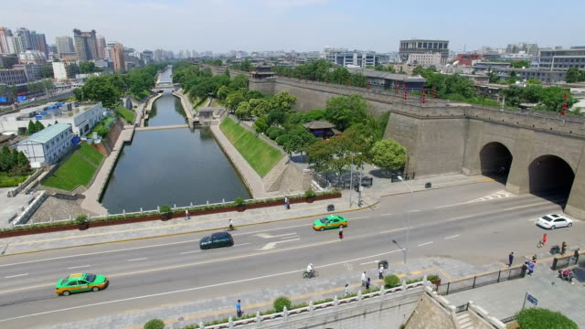 aerial view of moat and city wall/ xi'an, shaanxi, china - moat stock videos and b-roll footage