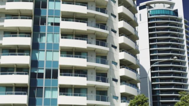 WS TD View of modern apartment building near Langley park / Perth, Western Australia, Australia