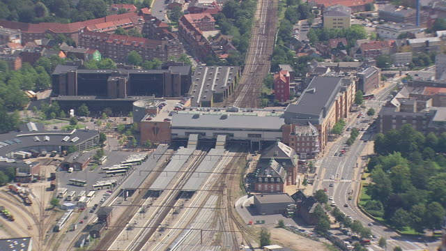 ws aerial zi view of modern buildings and railway station / fyn, denmark - railroad station stock videos & royalty-free footage