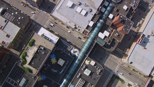 WS AERIAL POV View of modern downtown with highway / Indianapolis, Marion County, Indiana, United States