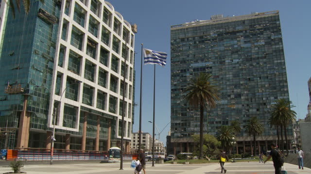 view of modern supreme court, uruguay - uruguaian flag stock videos & royalty-free footage