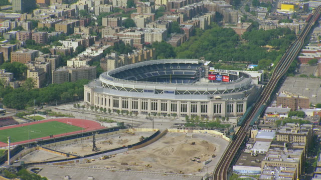 WS AERIAL View of Modern Yankee Stadium / New York, United States