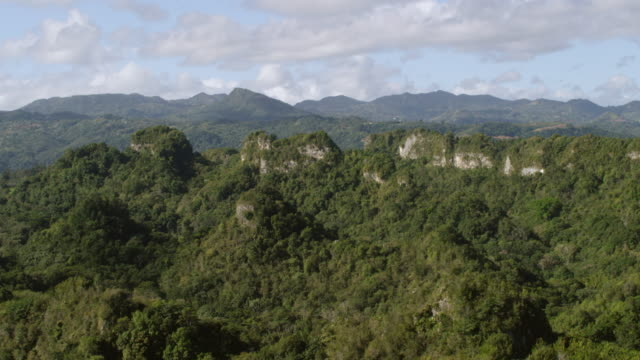 WS AERIAL POV View of mogotes hills / Ciales, Puerto Rico, United States