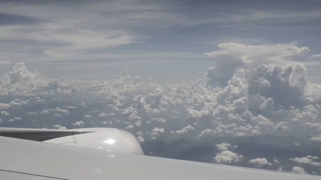 WS ARIAL View of monsoon clouds / Bangkok, Thailand