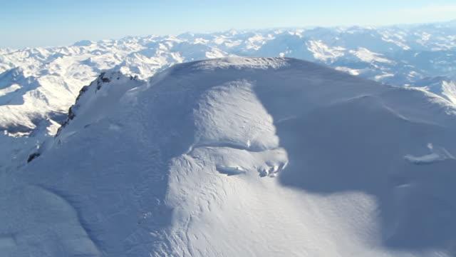 ws pan aerial view of mont blanc summit mont blanc / chamonix, haut savoir, france  - mont blanc stock videos & royalty-free footage