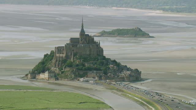 WS AERIAL View of Mont Saint Michel island / Lower Normandy, Channel Isles