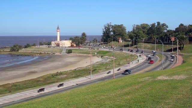 "View of Montevideo boardwalk (""rambla"") in Buceo neighborhood, Uruguay"