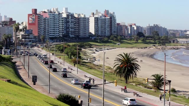 "stockvideo's en b-roll-footage met view of montevideo boardwalk (""rambla"") in buceo neighborhood, uruguay - uruguay"